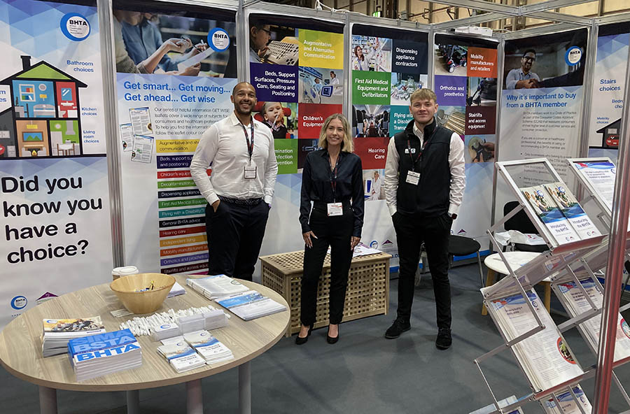 The BHTA Team on stand: (from left) Calvin Barnett, Head of Marketing and Communications; Samantha Lewis, Marketing Campaign Manager; Charlie Lawrence, Marketing and Communications Assistant